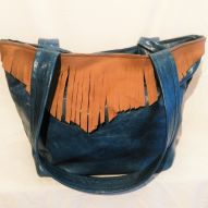 Blue leather tassle bag